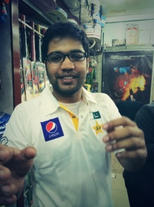 Wearing Team Pakistan's official test-match jersey!