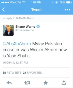 Warne's take on Yasir Shah